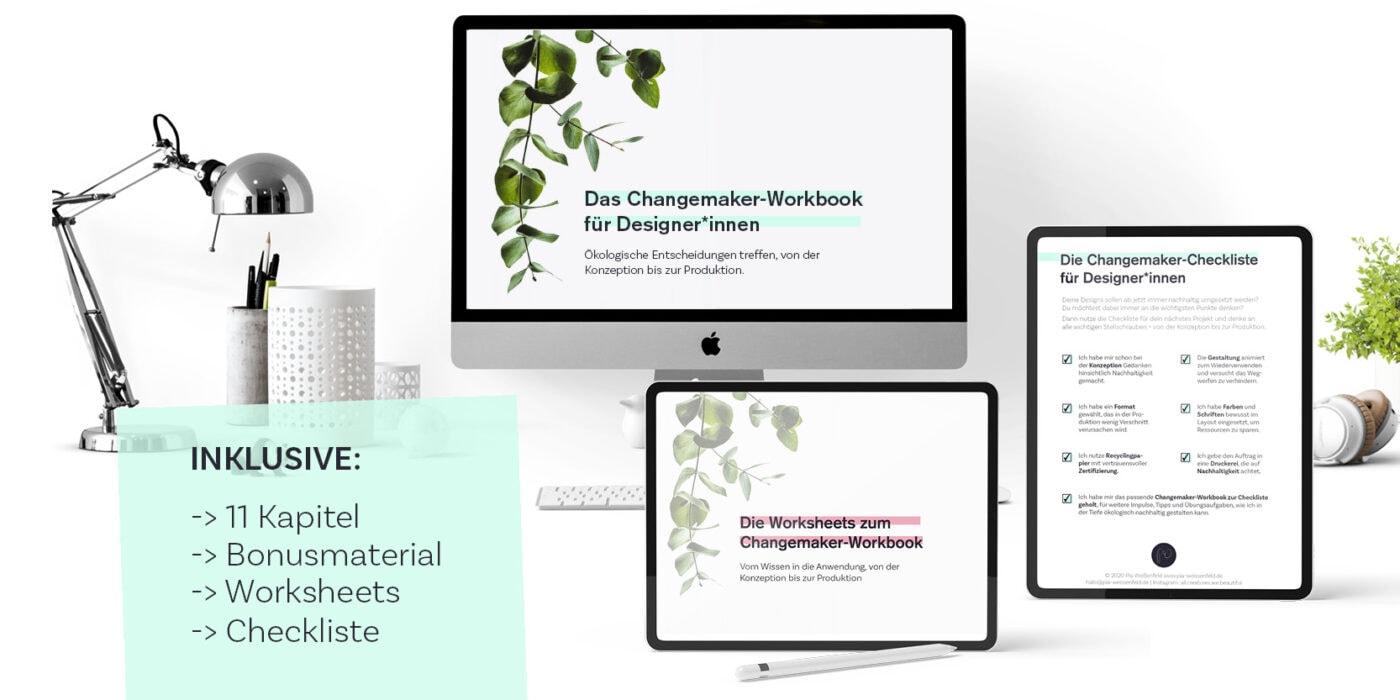 Es werden ein Bildschirm und zwei Ipads angezeigt, die jeweils den Titel des Workbooks, der Worksheets und der Checkliste zeigen.
